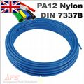 30 Mtr Coil - 10mm O.D x 8mm I.D Metric Nylon 12 Blue Flexible Tubing